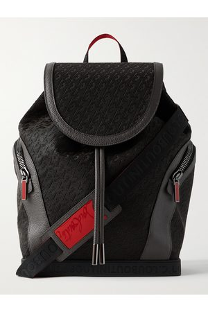 CHRISTIAN LOUBOUTIN Explorafunk Leather-Trimmed Logo-Jacquard Coated-Canvas Backpack