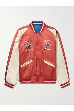 THE REAL MCCOY'S Suka Embroidered Colour-Block Satin Bomber Jacket
