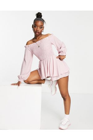 Missguided Frill detail bardot shirred playsuit in