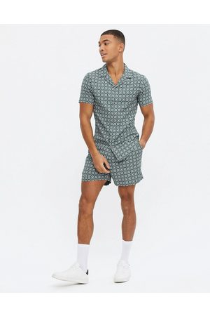 New Look Co-ord short sleeve tile print shirt in