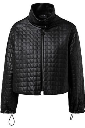 Akris Trapezoid Quilted Leather Cropped Jacket