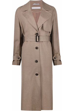 12 STOREEZ Belted button-up trench coat