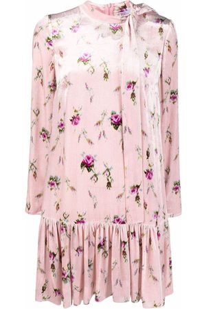 RED Valentino Women Printed Dresses - Floral-print pussy-bow minidress