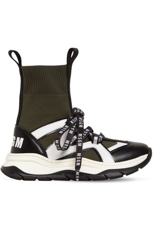 Msgm Leather Blend Knit High Sock Sneakers