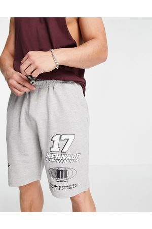 Mennace Jersey shorts in with placement print