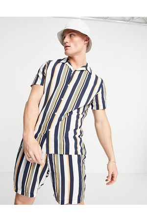 SELECTED Co-ord shirt in vertical stripe multi