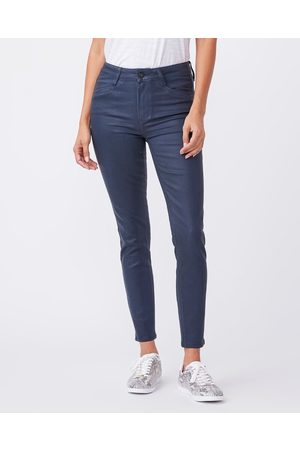 Paige Hoxton' Ankle Jeans in Sapphire Luxe Coated Denim
