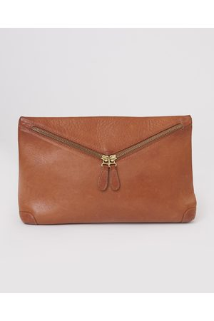 beaumont VALENCIA Leather Zip Clutch In Tan