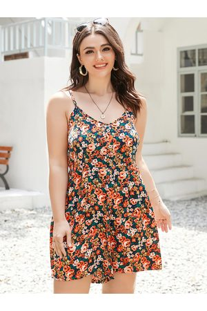 YOINS Women Playsuits - Plus Size Spaghetti Floral Print Front Button Sleeveless Playsuit