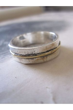 Window Dressing the Soul 925 Solid Silver and Gold Plated Stripe Ring