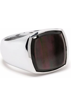 TOM WOOD Black mother-of-pearl cushion signet ring
