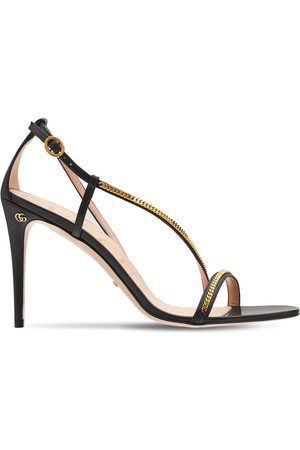 Gucci 95mm Sylvie Chain Leather Sandals