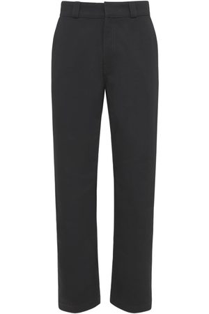 LOEWE Men Leather Pants - Cotton Drill Pants W/ Leather Patch