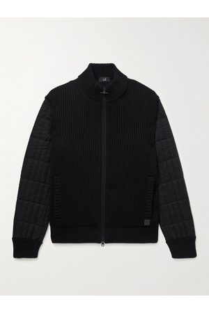 Dunhill Men Jackets - Ribbed Wool and Quilted Shell Jacket
