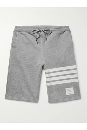 Thom Browne Men Shorts - Striped Loopback Cotton-Jersey Shorts