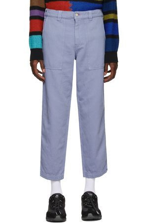 PS by Paul Smith Blue Linen Cropped Trousers