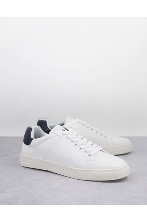 French Connection Contrast heel tennis trainers in & marine