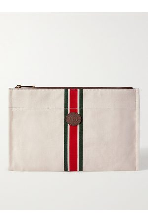 Gucci Men Wallets - Leather-Trimmed Striped Canvas Pouch