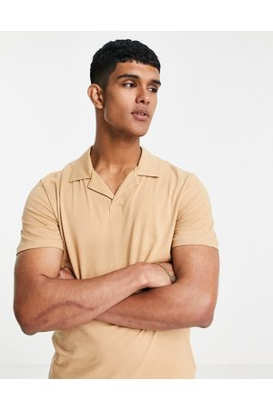 Only & Sons Co-ord revere collar polo in tan