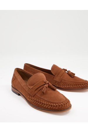 H by Hudson Men Loafers - Guilder woven tassel loafers in tan suede