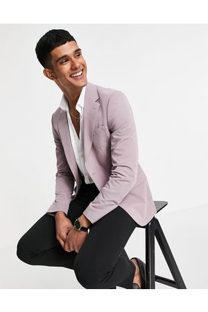 River Island Skinny suit jacket in lilac