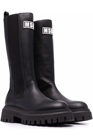 Msgm TEEN logo-print eco-leather boots