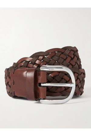 BRUNELLO CUCINELLI 4cm Woven Leather and Suede Belt