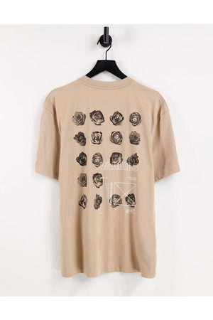 River Island T-shirt with floral back print in stone