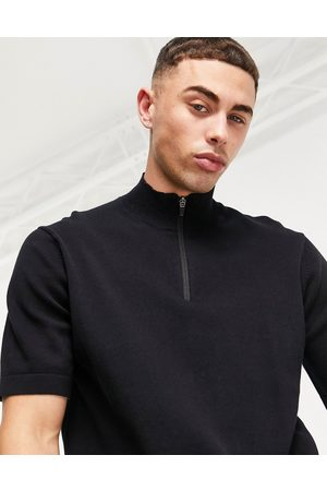 Only & Sons Quarter zip knitted t-shirt in