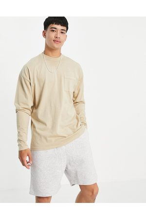 New Look Long sleeve t-shirt with pocket in washed stone