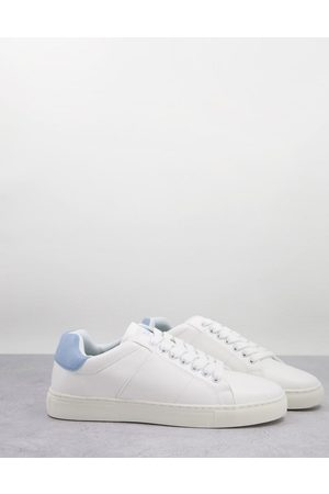 French Connection Contrast heel tennis trainers in & sky blue