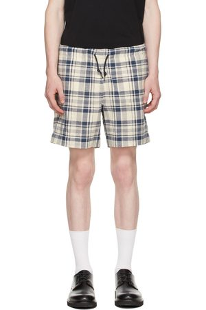 PS by Paul Smith Off-White & Navy Cotton Linen Check Shorts