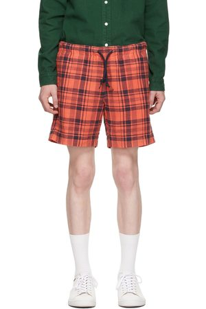 PS by Paul Smith Red & Navy Cotton Linen Check Shorts