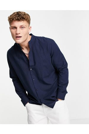 SELECTED Linen shirt with grandad neck in