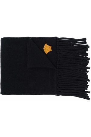 Versace Embroidered-motif fringed-edge scarf