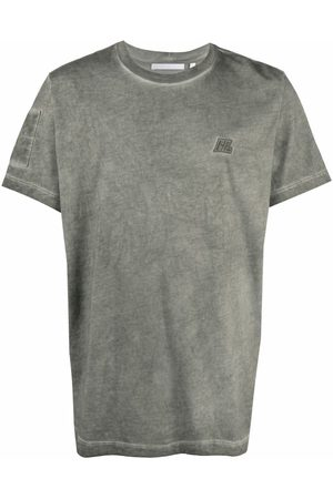 Helmut Lang Distressed logo-patch military T-shirt