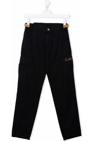 LANVIN Enfant TEEN logo-embroidered cargo trousers