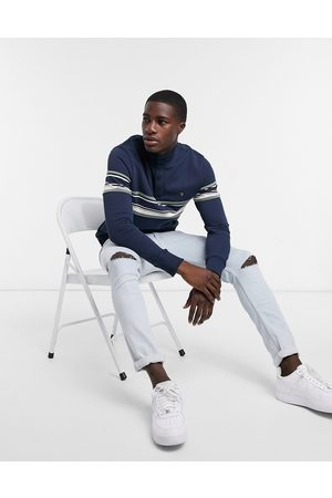 Farah Hales button funnel neck striped panel sweat in
