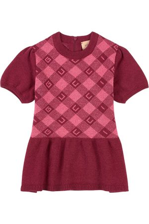 Gucci Kids - G All Over Check Fine Wool Dress - Girl - 18-24 months - - Casual dresses