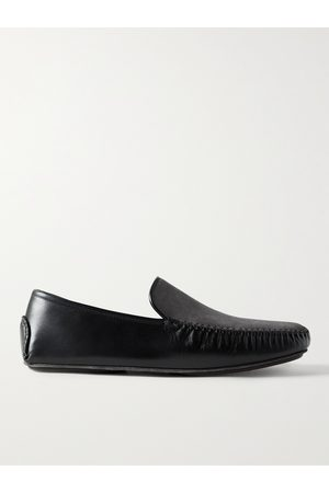 MANOLO BLAHNIK Mayfair Leather and Suede Slippers