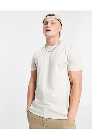 New Look Organic cotton NLM embroidered t-shirt in stone