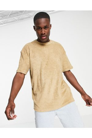 New Look Towelling oversized t-shirt in stone