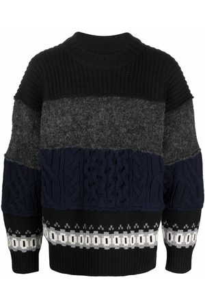 SACAI Cable-knit panelled jumper