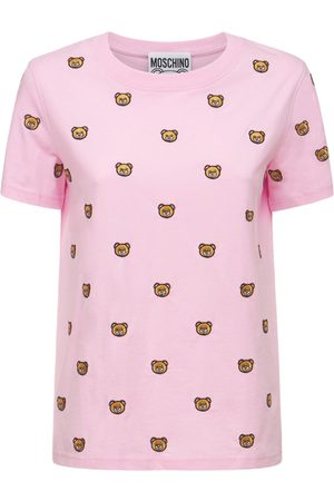 Moschino Embroidered Teddy Cotton Jersey T-shirt