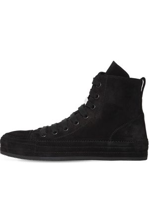 ANN DEMEULEMEESTER Raven Suede High-top Sneakers