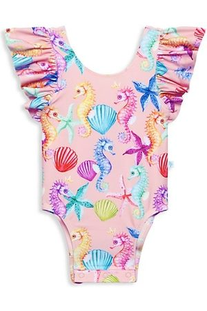 Posh Peanut Baby Swimming Costumes - Baby Girl's Coral Ruffled One-Piece Swimsuit