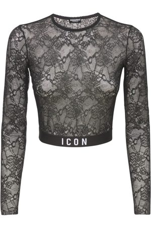 DSQUARED2 Printed Logo Lace Crop Top