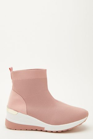 Quiz Pink Knit Wedge Sock Trainer