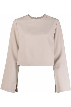 12 STOREEZ Wide-sleeved cropped blouse