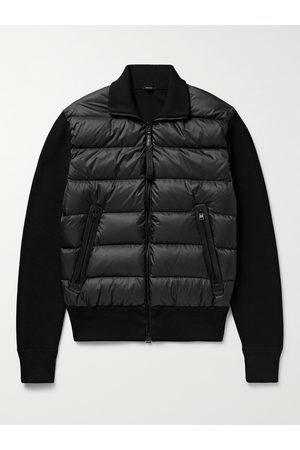 TOM FORD Slim-Fit Leather-Trimmed Ribbed Wool and Quilted Shell Down Jacket